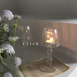 Click retro lamp glass candlestick Vintage Home Decoration ins Cafe personality Candlestick