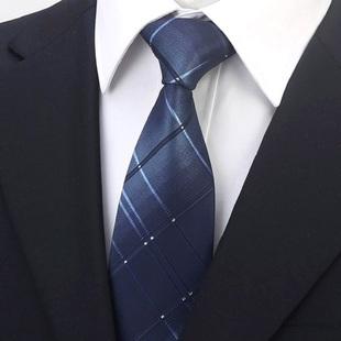 男工装深蓝渐变色格子8cm领带
