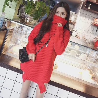 2017 autumn and winter new loose long-sleeved high-necked sweater shirt broken hedge tunic long thick sweater women