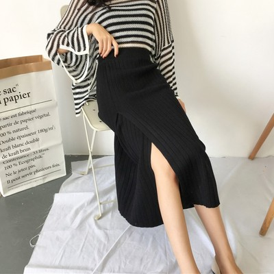 2017 autumn and winter new self-cultivation split knit skirt long skirt high waist skirt retro was thin bag skirt women