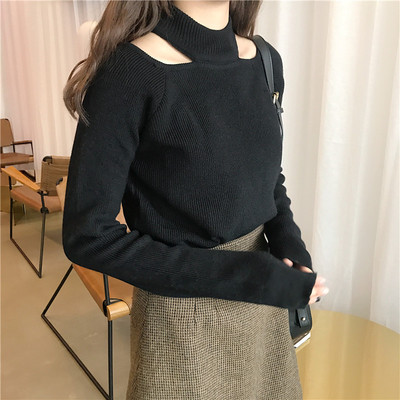 2017 autumn and winter new cute hedging thickened bottoming shirt sweater hollow hanging neck loose long-sleeved sweater women