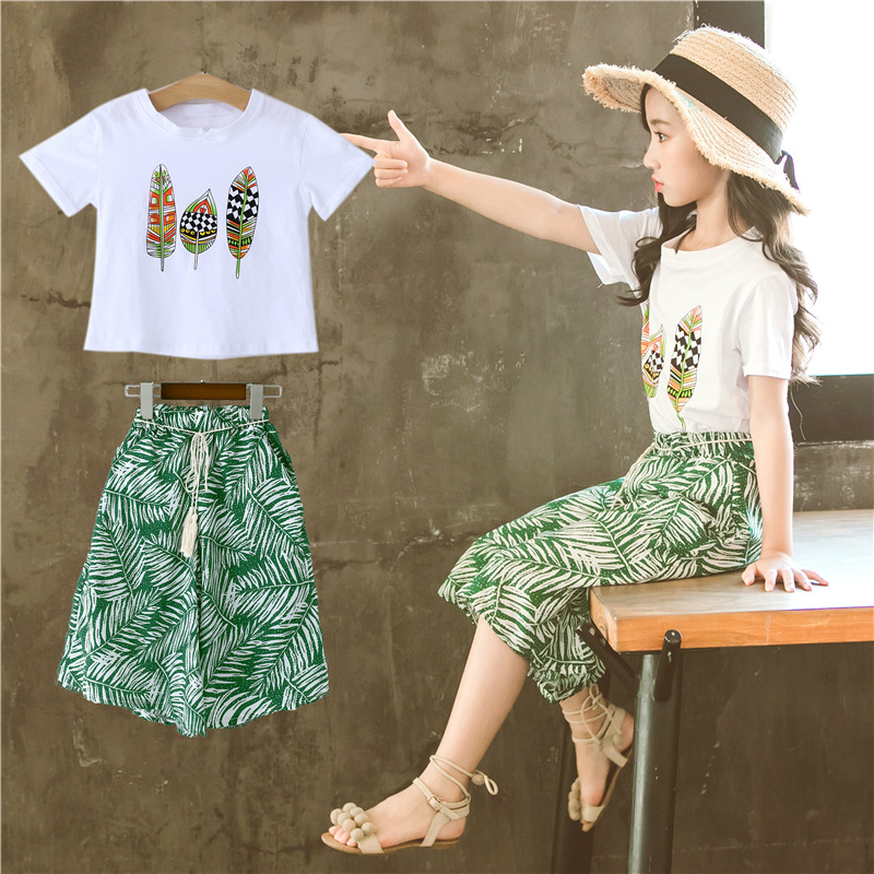 Girls suit summer 2019 new summer Korean fashion girls wide leg pants two-piece tide children's clothing