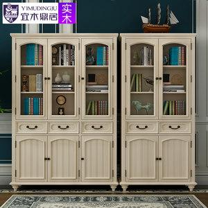 美式书柜实木柜子储物柜书房家具客厅置物柜木质书橱书架带玻璃门