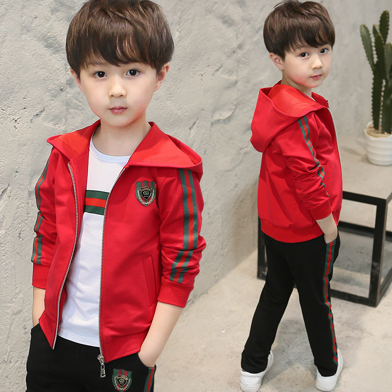 Children's clothing boys autumn suit 2019 New children's sports three-piece boy yangqi spring and autumn Korean version of Tide clothing