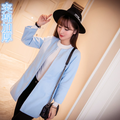 2017 autumn and winter with a new woolen jacket female Korean women's solid color in the long section of large size Slim woolen coat female