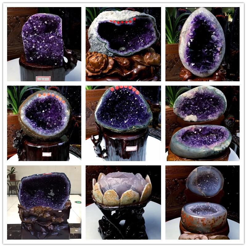 Уругвай Lucky Amethyst Decoration Amethyst Cave Heart Shaped Amethyst Cluster Natural Original Stone Lotus Рог изобилия Украшение
