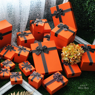 New Ins Mother's Day Gift Box Packaging Birthday Gift Box Orange Gift Box Lipstick Empty Box