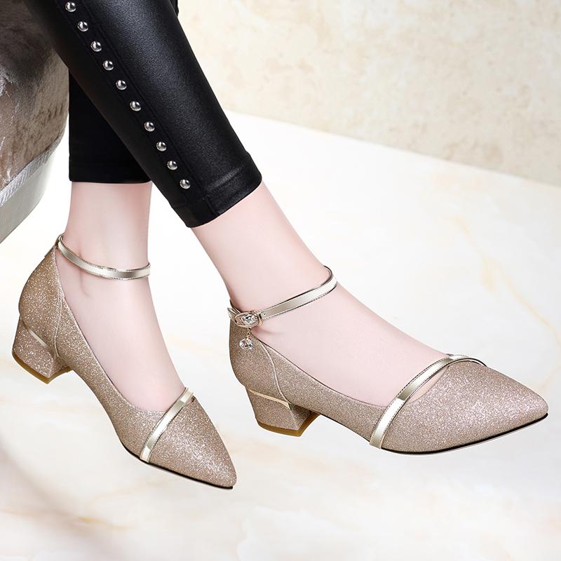 中跟单鞋女鞋春季2019新款春款磨砂高跟鞋粗跟百搭婚鞋伴娘水晶鞋