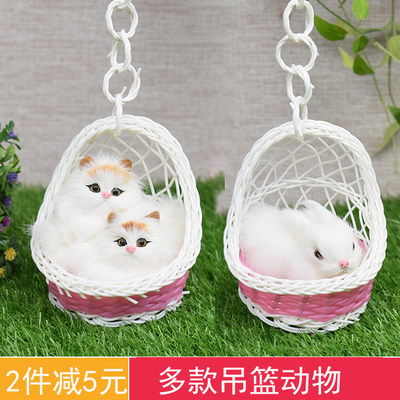 Mini hanging basket small animal model simulation kitten puppy bunny doll doll children play house toy decoration