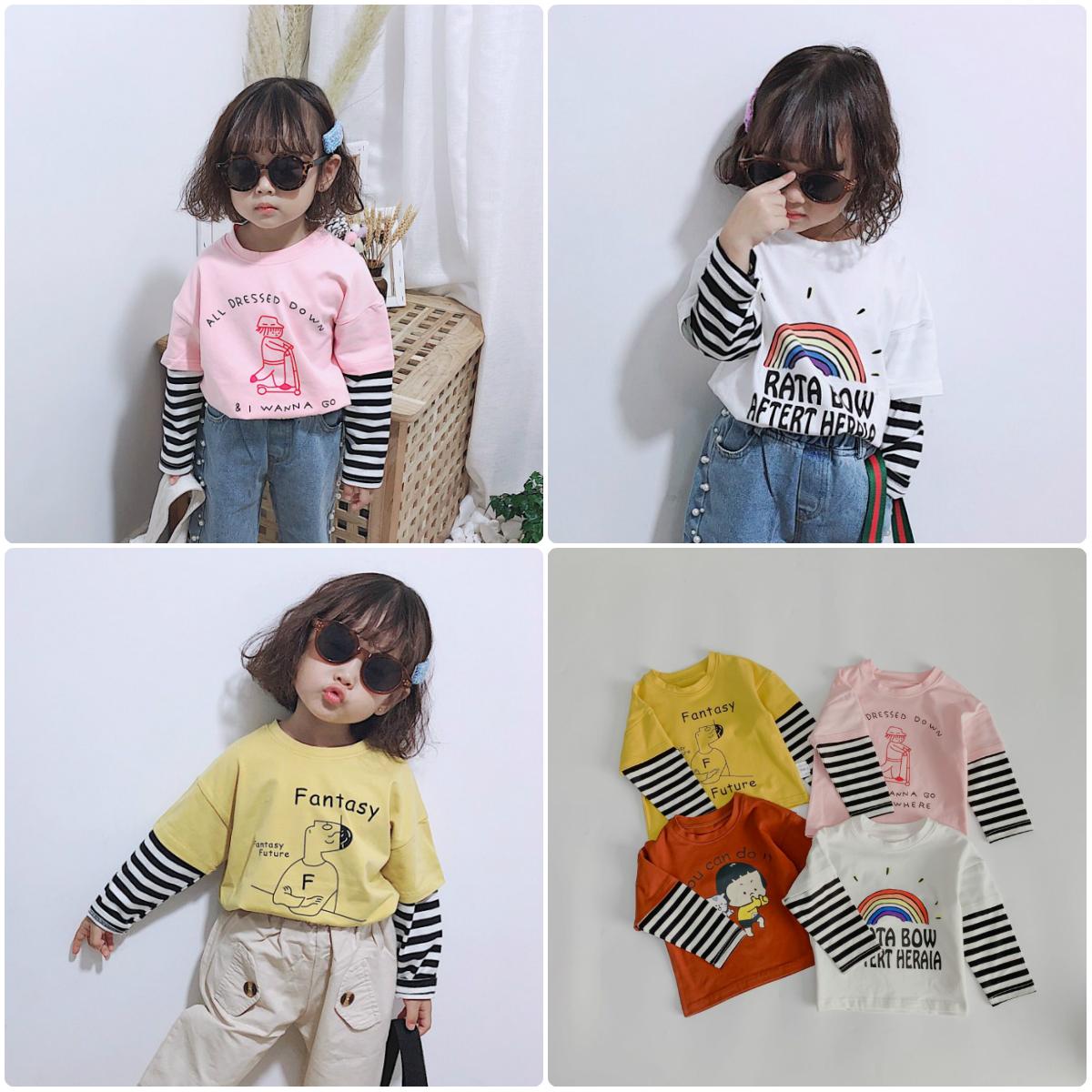 女童假两件卡通体恤衫 男宝宝长袖T恤纯棉打底衫休闲条纹圆领上衣