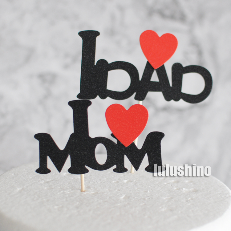 Baking Cake Holiday Party Decoration I Love You Mom Dad Baby Black