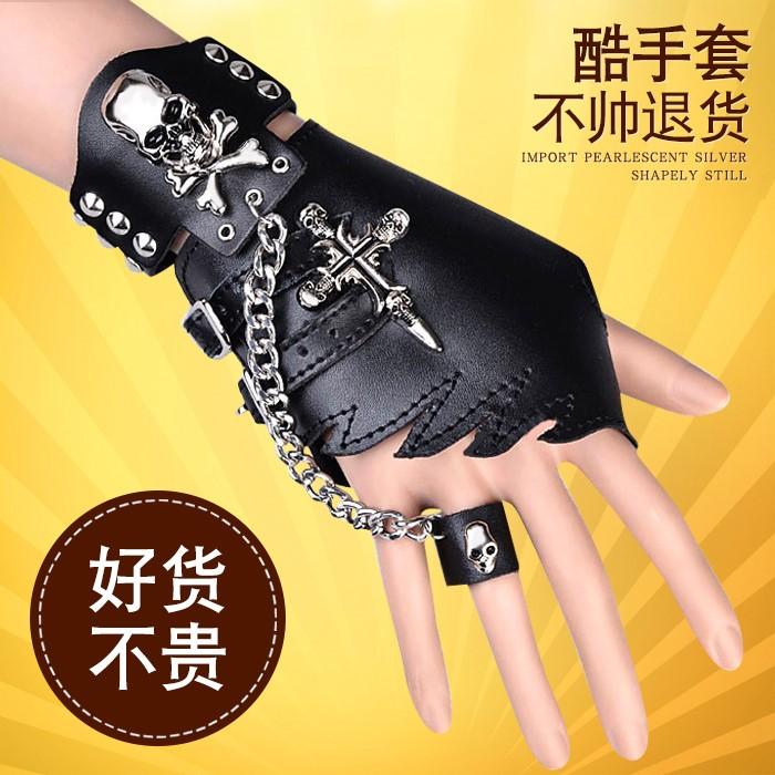 时尚潮流演出露指个性朋克摇滚半截韩版街舞霹雳男士半指手套青年