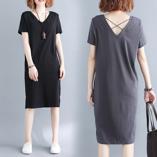Big size women's 200 catty fat MM summer dress Korean version cross-strap back-back V-neck mid-length T-shirt dress is thin