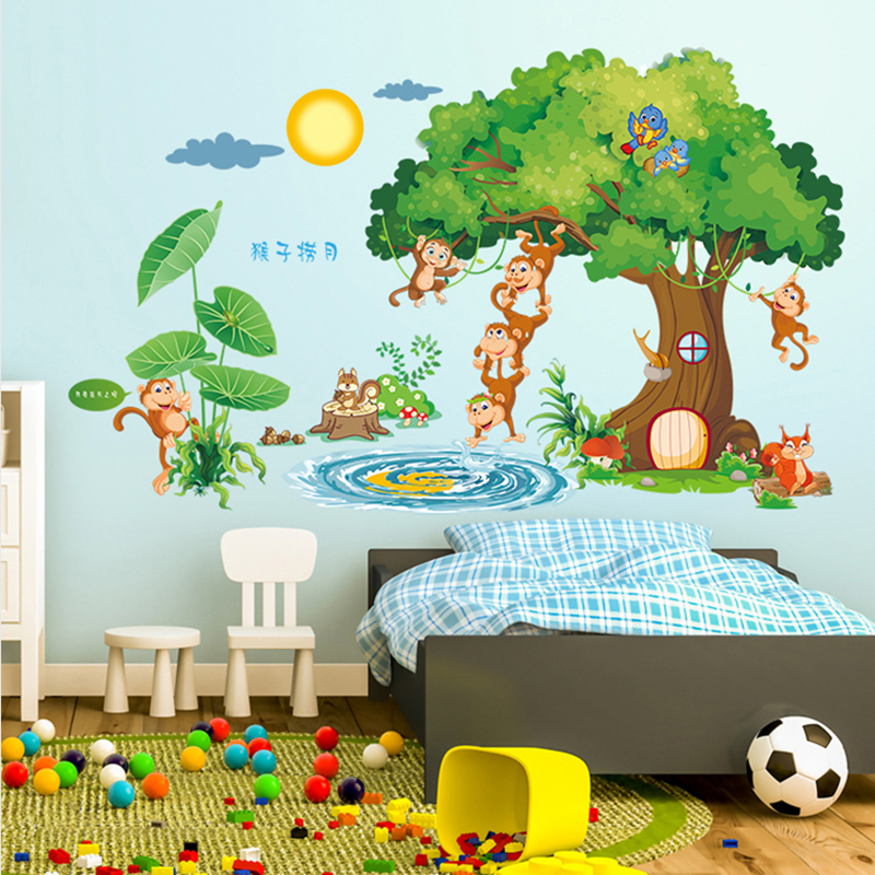 Large Wall Stickers Children S Room Cute Cartoon Baby Kindergarten Clroom Layout Monkey Green