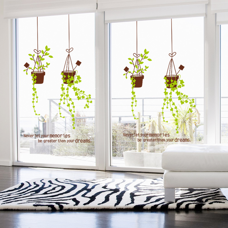 Living Room Balcony Window Glass Stickers Wall Stickers Window Window  Sliding Door Decorations Stickers Decals Green