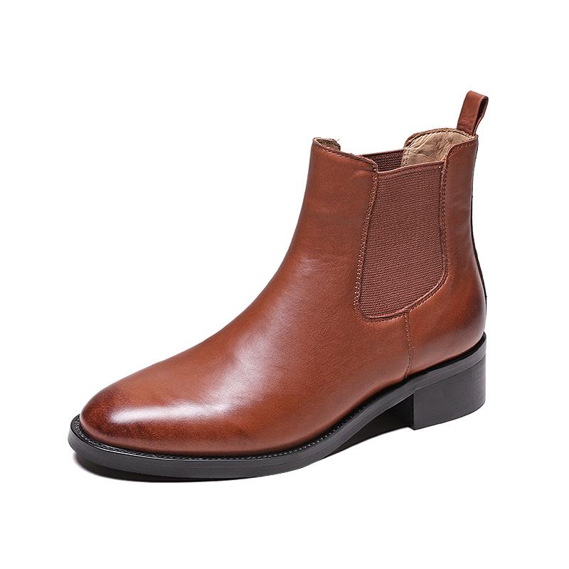 切尔西短靴女秋冬季加绒平底方头粗跟复古及踝女靴子英伦风马丁靴