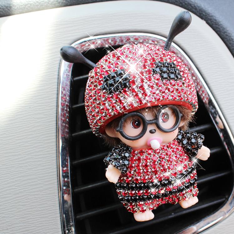 镶钻卡通汽车香水车载香水车用空调车用出风口香水夹装饰品摆件