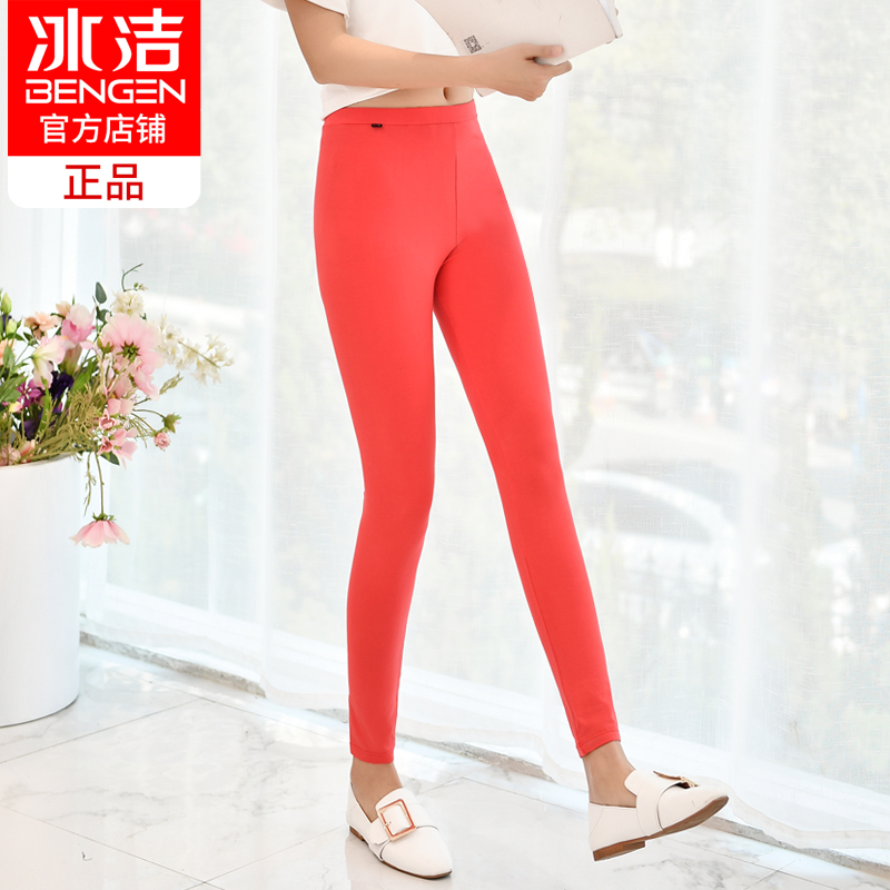 Ice clean leggings female thin section 2018 new spring and autumn cotton wear large size was thin wild feet nine pants trousers