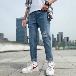 -P48 夏季港风九分牛仔裤男宽松直筒破洞乞丐9分裤 浅蓝 外景