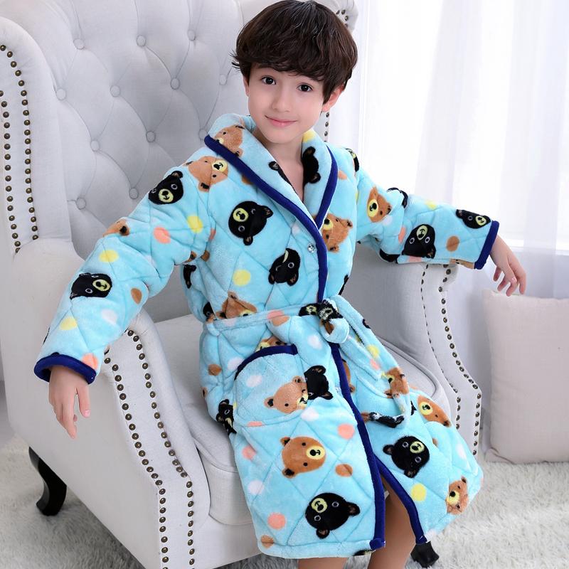 Цвет: Утолщенные хлопок Nightgown синий медведь