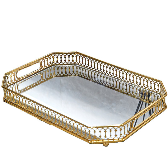 Northern European style glass plate gold-plated metal storage tray home living room light luxury chopping plate decoration fruit plate