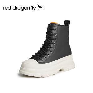 红蜻蜓女鞋真皮系带侧拉链靴子