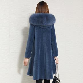 2018 новый овец сдвиг пальто женщина гранула шерсть длина мех лиса волосы один шуба хайнинг пальто, цена 13437 руб
