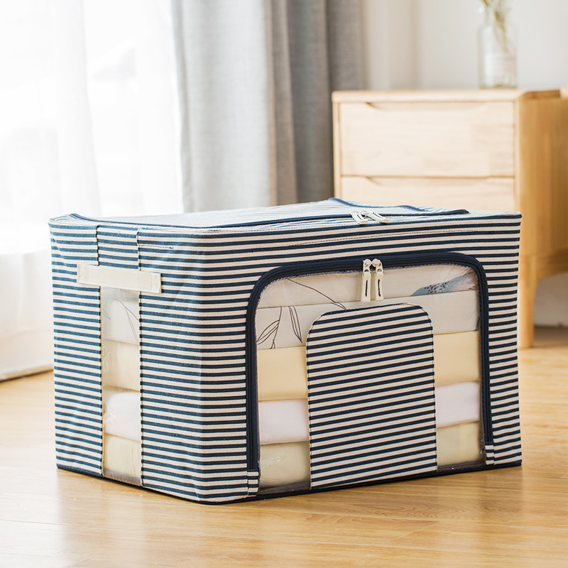 Three generations of odorless cotton and linen thickened four steel frame - blue stripes