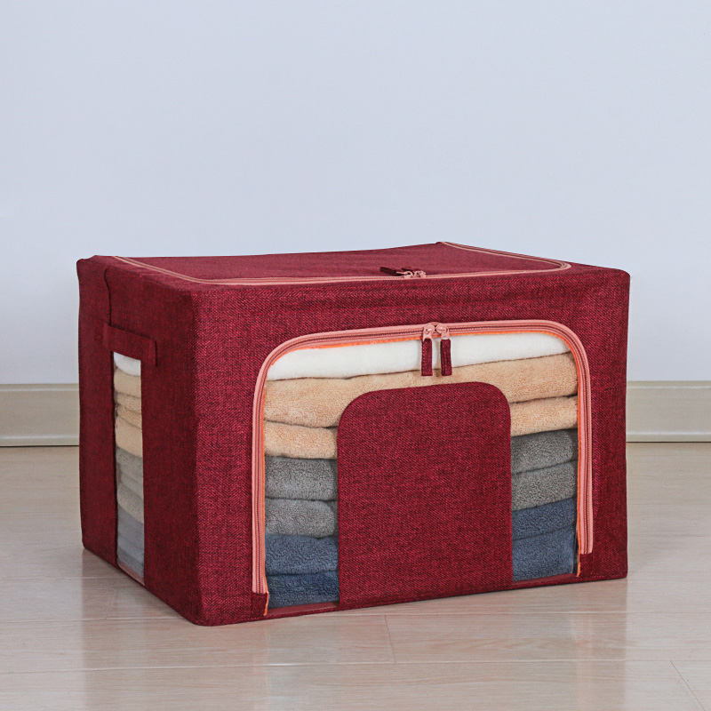 Three generations of odorless cotton and linen thickened four steel frame - wine red