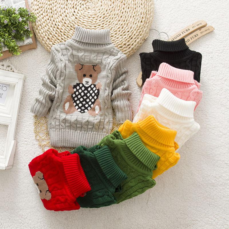 2020冬毛衣高领打底童装女童针织衫男童加厚宝宝毛衣套头儿童圆领