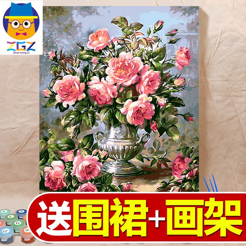 赵公子diy数字油画客厅上色水彩成人减压手工填色手绘装饰油彩画