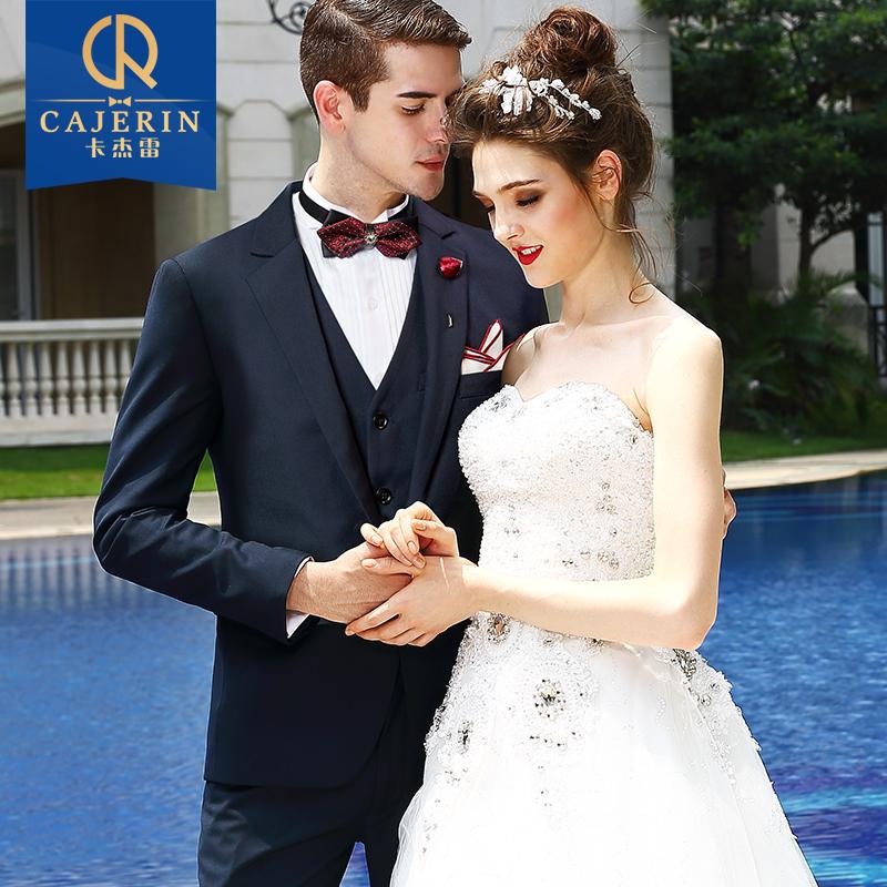 男士西服套装修身商务休闲正装男婚礼新郎结婚西装礼服三件套英伦