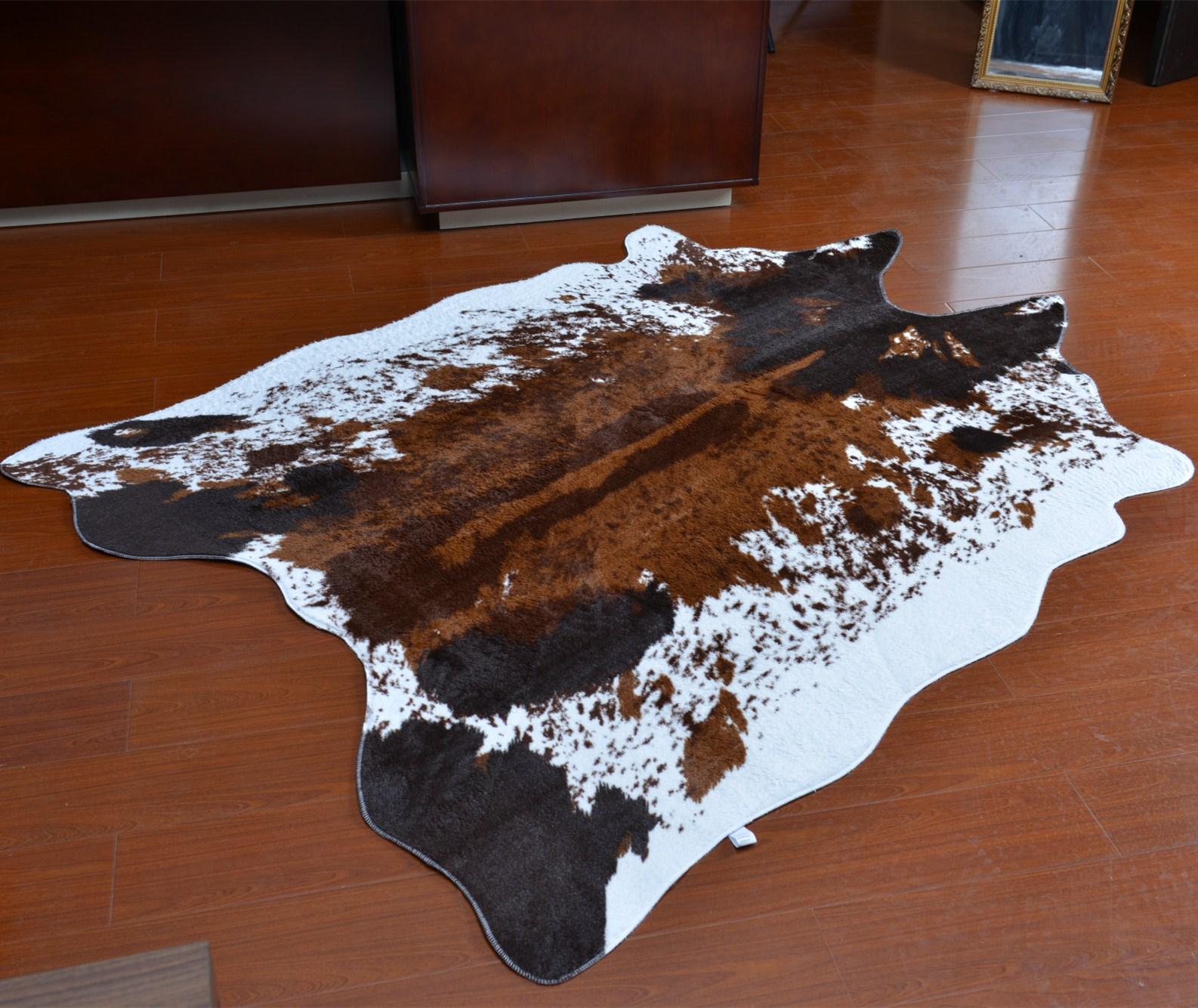 v斑马斑马地垫地毯纹瑕疵北欧美式异形卧室水洗客厅薄款牛皮可玄关
