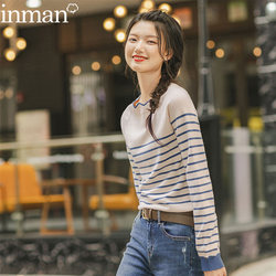 Inman flagship store ladies official spring and autumn cropped top Western style striped knitted bottoming shirt sweater women 2020