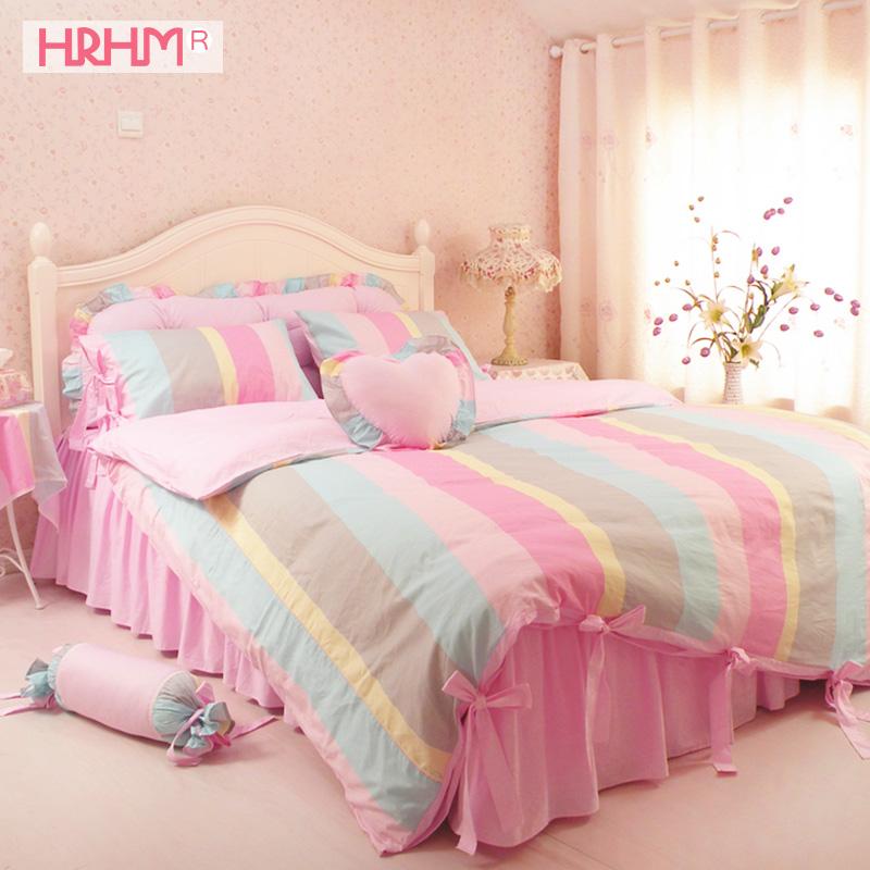 HRHM домой спин кровать четыре части лист хлопок мощный использование товары полная версия хлопковое постельное бельё юбка сельская местность принцесса 1.8m