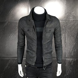 2019 spring new lapel leather jacket men's jacket youth simple Korean version of men's outer clothes trend all-match top