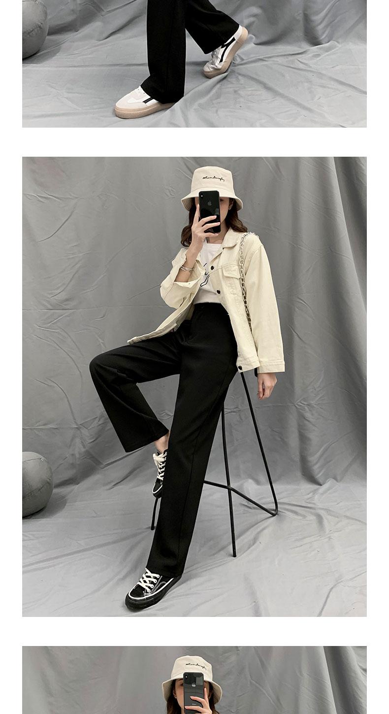 阔腿裤女高腰春秋垂感宽鬆直筒小个子黑色显瘦百搭休閒西装拖地裤详细照片