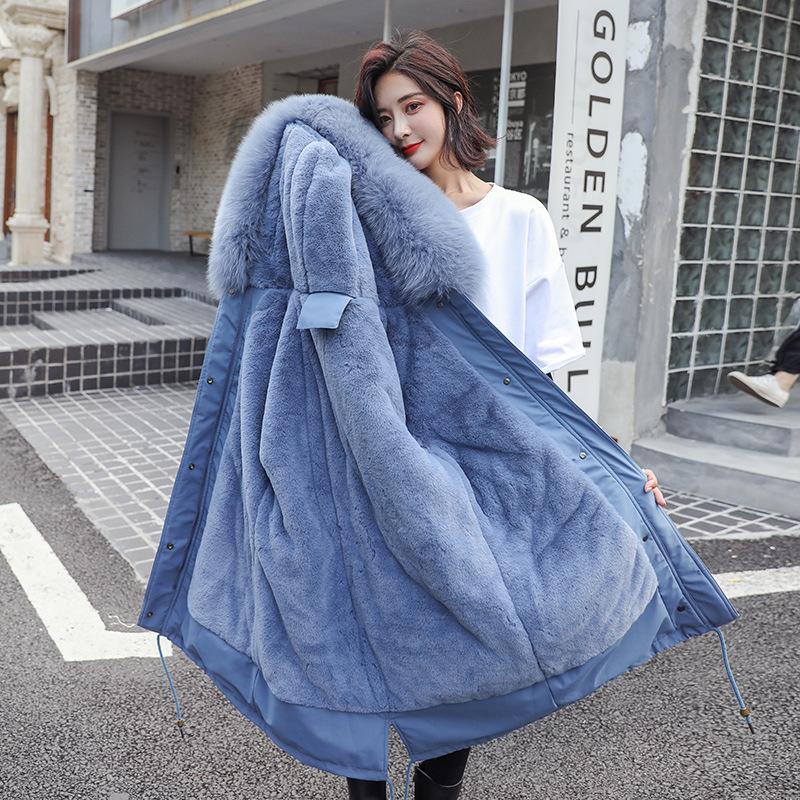 冬季新款派克服长款过膝韩版棉衣羽绒加厚宽松a棉衣棉服女外套学生
