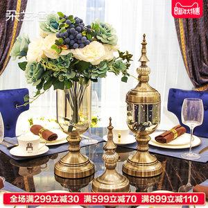 欧式美式玻璃透明大号花瓶电视柜餐桌玄关装饰干花插花样板间摆件