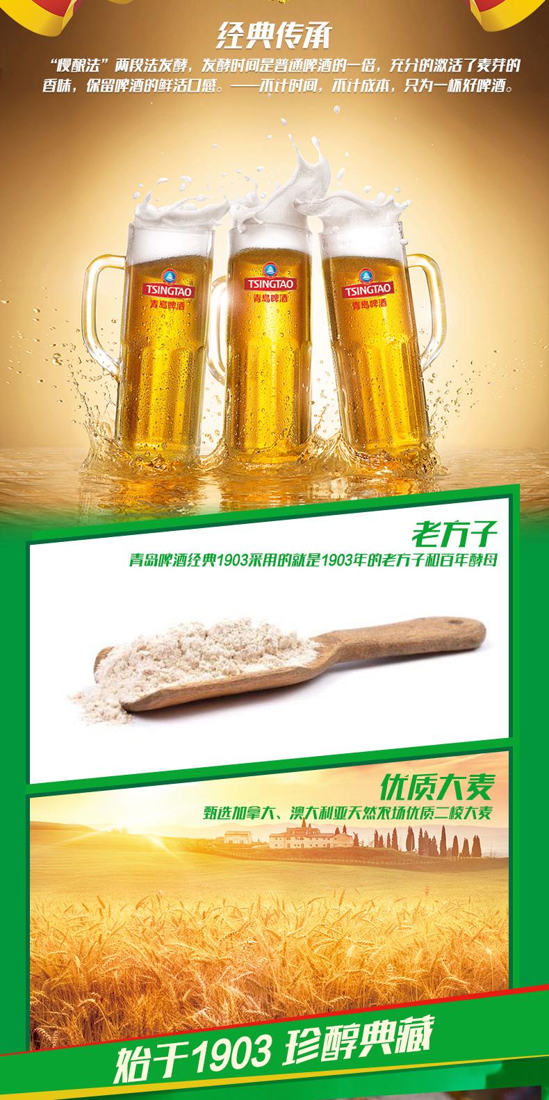 青岛啤酒 金头1903精酿啤酒 500ml*18听/箱 图3