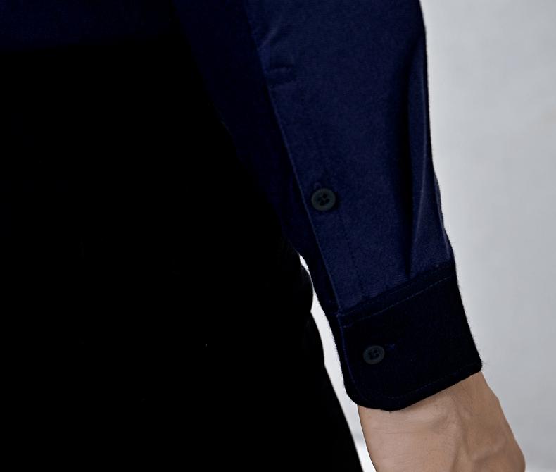 VICUTU nam dài tay áo T-Shirt mỏng phù hợp với ánh sáng màu xanh đậm T-Shirt shirt versace