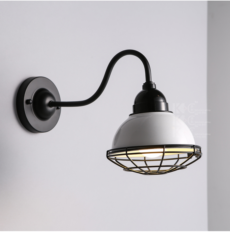 Gooseneck Wall Mount Lamp : Gooseneck Barn Cage Sconce E27 Light Wall Mounted Lamp Indoors Lighting Fixture eBay