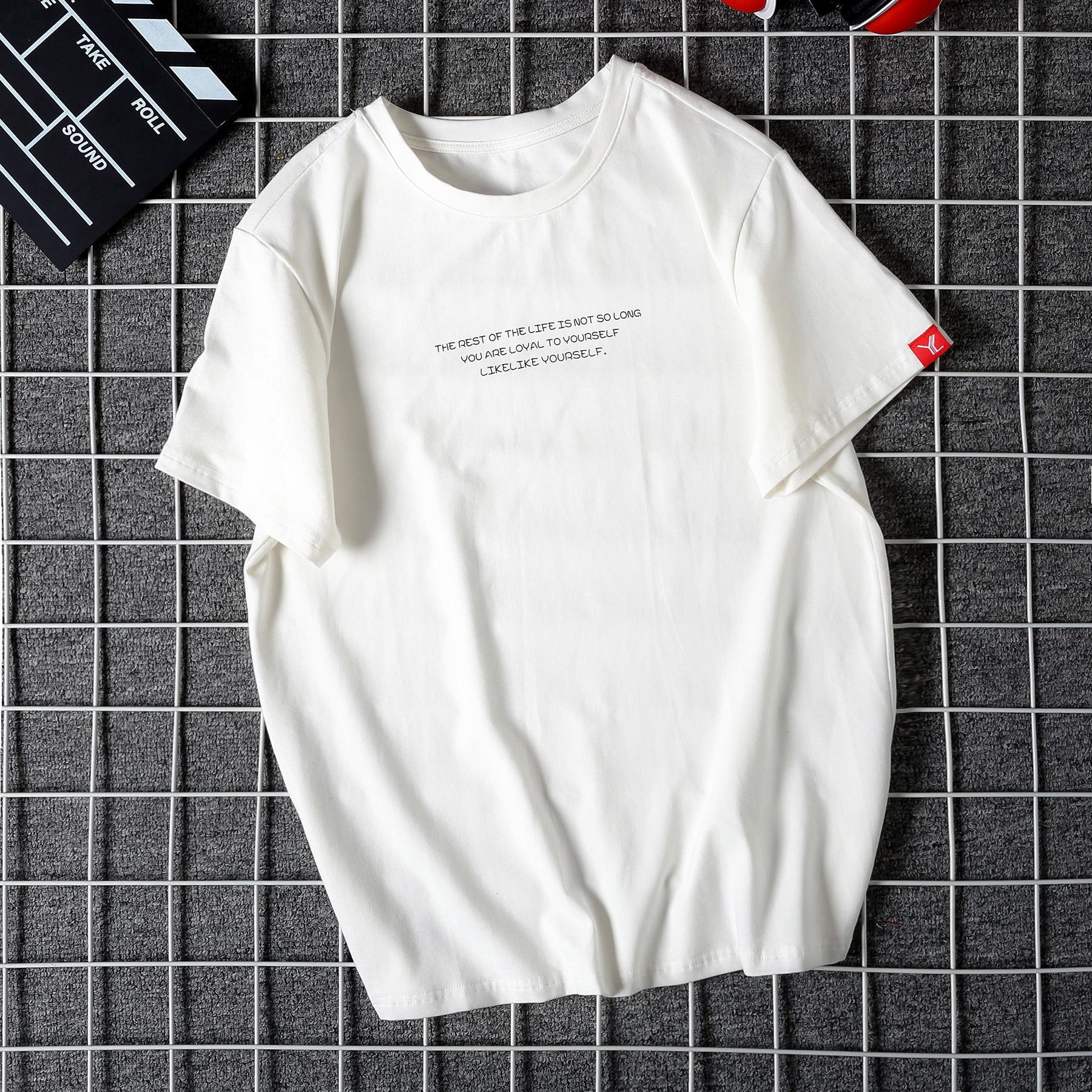 YC服装男士圆领纯棉简约印花短袖T恤男包邮_领取30.00元淘宝优惠券