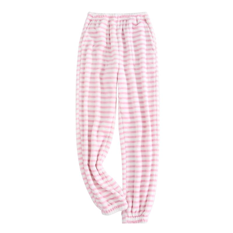 秋冬季男女士法兰绒睡裤情侣保暖加厚大码珊瑚绒家居长裤小脚收口