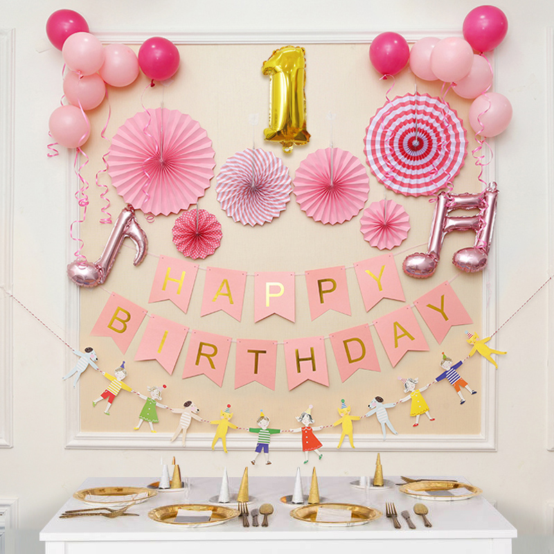 Baby Girl One Year Old Birthday Arrangement 2 Child Boy Princess Hundred Days Feast Party Decoration Balloon Background Wall