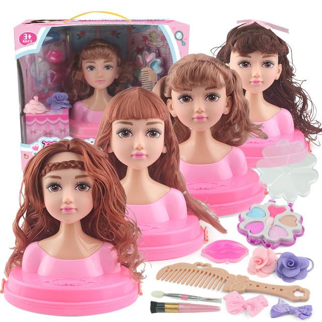 Cô gái tóc tết bện búp bê học trang điểm trang điểm tóc chải tóc bé thời trang ăn mặc chơi nhà đồ chơi - Đồ chơi gia đình