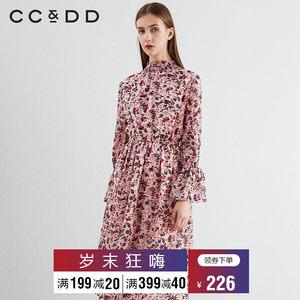 CCDD2019春装新品专柜正品时尚修身碎花长袖连衣裙女薄款大摆裙