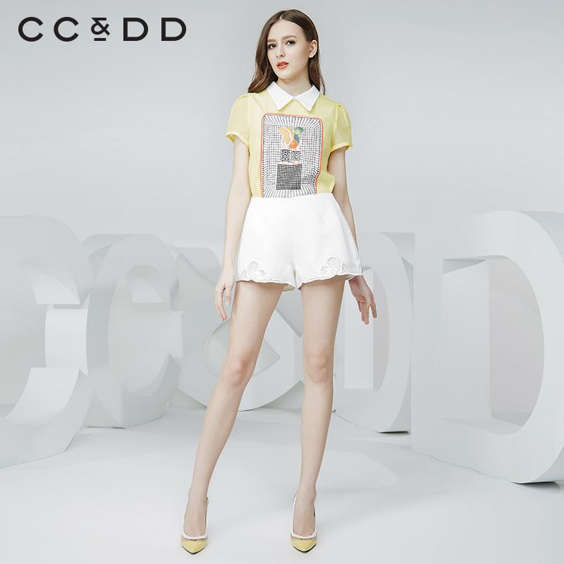 CCDD2016夏装水果方格印花短袖衬衫