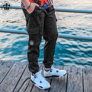 雷哈格尔潮牌大码男装胖子加肥加大工装束脚裤男宽松加绒休闲裤子