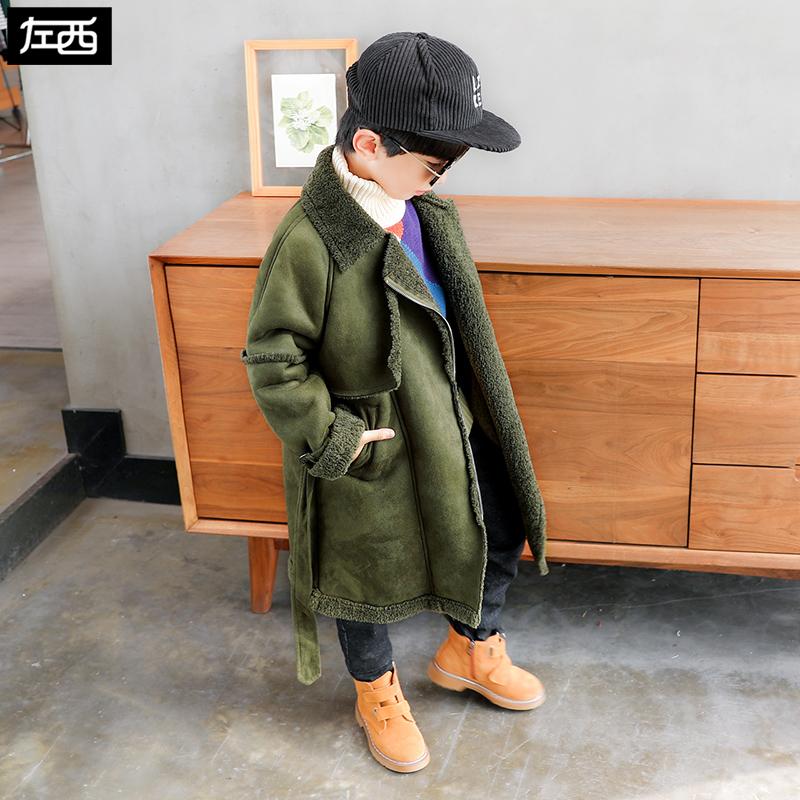 【反季清仓】左西男童棉衣外套儿童加绒加厚中长款棉服羊羔毛冬装